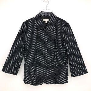 Talbots 3/4 Sleeve Black & White Polka Dot Blazer